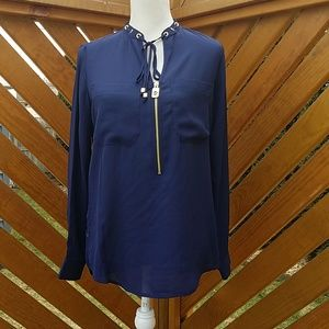 NWT Michael Kors Navy Blue Blouse Size Small